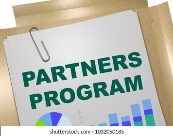 3D illustration of PARTNERS PROGRAM title on business document