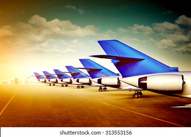 3d illustration of passenger aircraft tails in airport