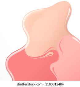 3d illustration pastel colors paint or nail lacquer on white background, top view