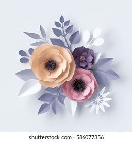 3d illustration, pastel paper flowers, holiday floral background, Easter backdrop, Mother's day greeting card