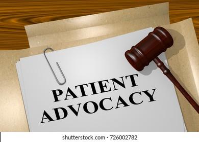 "3D illustration of ""PATIENT ADVOCACY"" title on legal document"