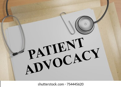 "3D illustration of ""PATIENT ADVOCACY"" title on a medical document"