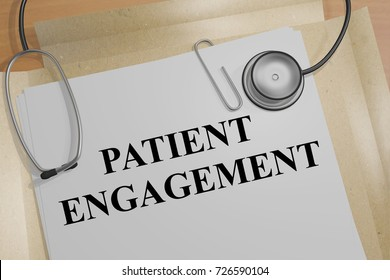 "3D illustration of ""PATIENT ENGAGEMENT"" title on a medical document"