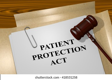 """3D illustration of """"PATIENT PROTECTION ACT"""" title on Legal Documents. Legal concept."""