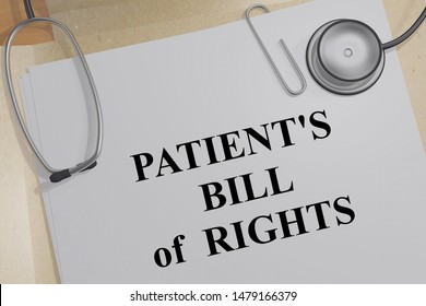 3D illustration of PATIENT'S BILL of RIGHTS title on a medical document