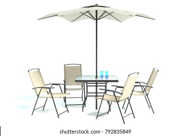 3d illustration of a patio table set