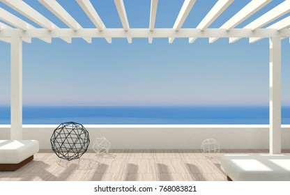 3D illustration. Patio or terrace modern luxury villas with sea views and a classic pergola .