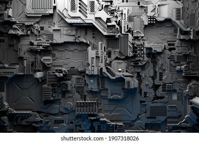 3D-Abbildung eines Musters in Form eines Metalls, technologischer Platzierung eines Raumschiffs oder eines Roboters. Abstrakte Grafiken im Stil von Computerspielen. Nahaufnahme der schwarzen Cyber-Rüstung bei Neonbeleuchtung