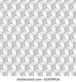 3D illustration - Pattern of white cubes in isometric perspective