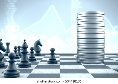 3d illustration: Pawn leads chess pieces against financial capital to capture it