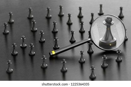 3D illustration of pawns over black background with a magnifier fucussing the best one. Concept of best candidate for a job.