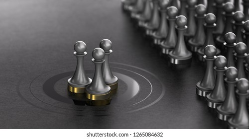 3D illustration of pawns over black background with three of them in the center of a target . Talent Scouting and spotted talents concept
