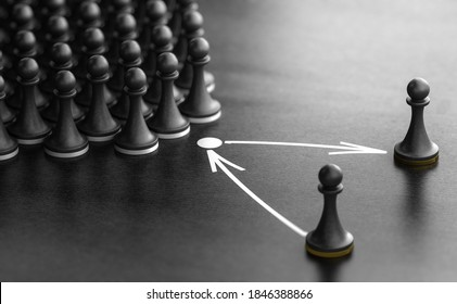 3d illustration of pawns over black background with one piece replaced by another one. Concept of succession planning and leader or senior manager replacement.