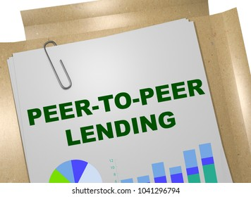 3D illustration of PEER-TO-PEER LENDING title on business document