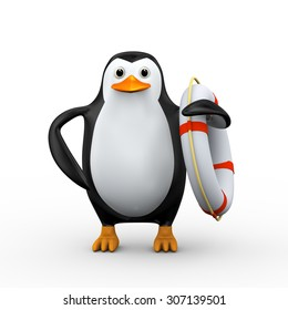 3d illustration of penguin holding  life preserver lifebuoy ring