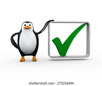 3d illustration of penguin standing with right tick check mark box