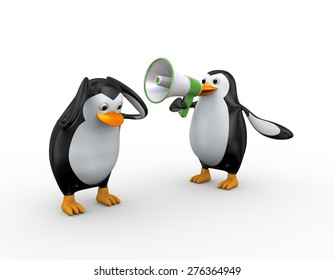 3d illustration of penguin yelling through megaphone to another penguin