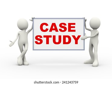 3d illustration of people holding case study text board. 3d human person character and white people