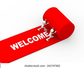 3d illustration of people rolling red carpet having text welcome. 3d human person character and white people