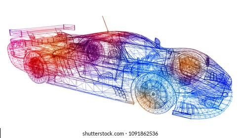 3D Illustration of The Performance Car Thermodynamics