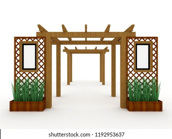 3d illustration pergola gate entrance wood construction with plants and blank space for logo company. High resolution image isolated on white background.