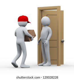 3d illustration of person free home delivering parcel to another man. 3d rendering of people - human character.
