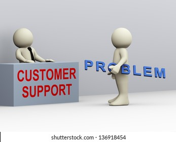 3d illustration of person having problem contacting customer support for help and assistant. 3d rendering of human people.