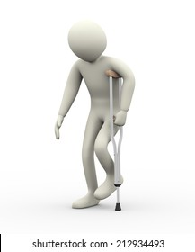 3d illustration of person walkingn with help of sing crutch.  3d rendering of human people character