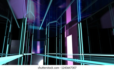 3d illustration of a perspective neon styled black room with led stripes and glass reflections low angle view.