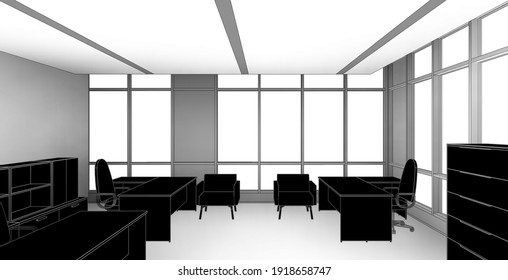 3d illustration perspective of an office room for three people. Black colored decoration with ambient shadows on the walls