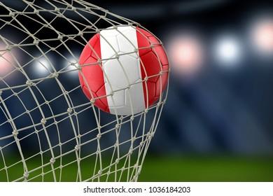 3d illustration. Peruvian soccerball in net
