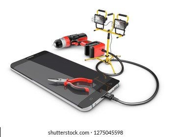 3d illustration of Phone repair and service concept. isolated white