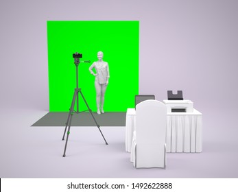 3d illustration photo booth instant tripod camera green screen and operator table with laptop and printer for event exhibition. High resolution image isolated.