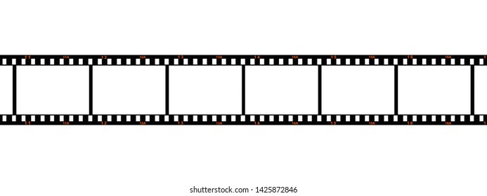 3d Illustration of a photo film with orange frame numbers
