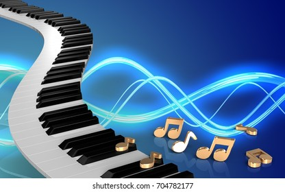 3d illustration of piano keys over sound background with notes