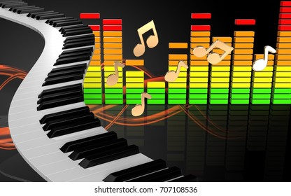 3d illustration of piano keys over sound wave orange background with notes