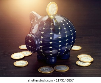 3D illustration piggy bank photovoltaic
