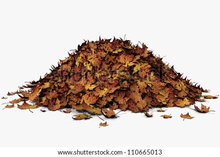 3d illustration of a pile of autumn leaves.