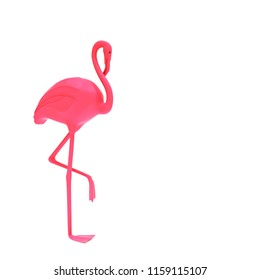 3D illustration. Pink flamingo, isolated on white background. Flamingo bird illustration design on the background. Flamingos, bright birds. Printing for printing, T-shirts and textiles. Render.