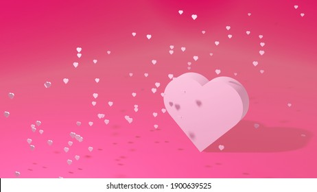 3D illustration of pink heart and many small hearts
