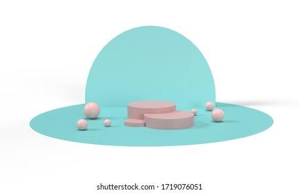 3D-Illustration, rosafarbener Ständer und blauer Hintergrund