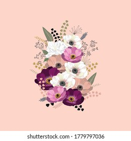A 3D illustration of pink and white flowers on a pink background. - Shutterstock ID 1779797036