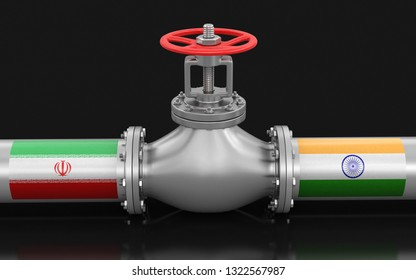 3d illustration. Pipeline with flags. Image with clipping path