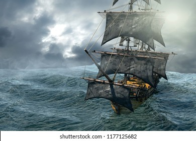 3D Illustration of a pirate ship sailing on the sea