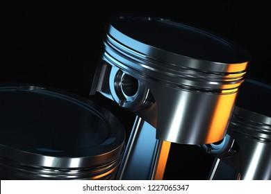 3d illustration of piston on a dark background.