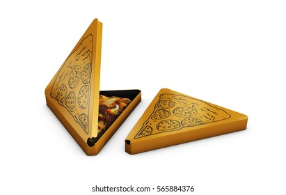 3d Illustration of Pizza triangular box with pizza in, isolated on white.