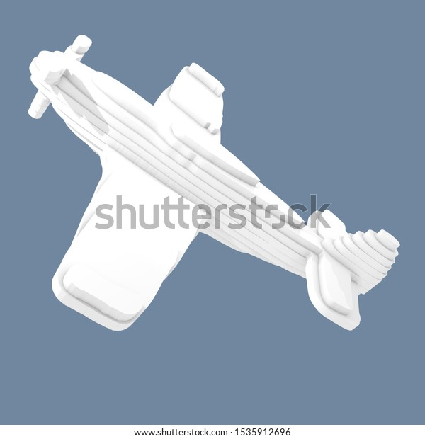 3d illustration, a plane on blue background