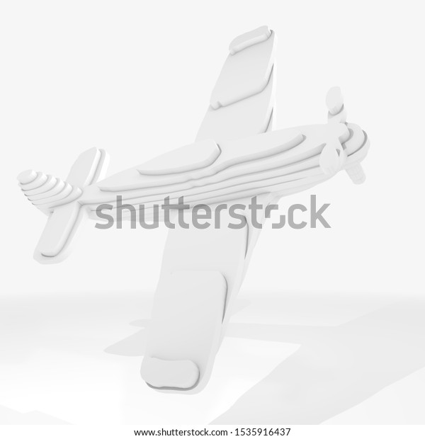 3d illustration, a plane on grey background