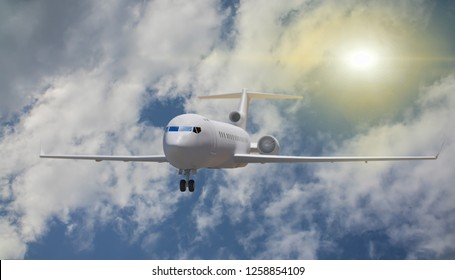 3D Illustration of the plane takes off