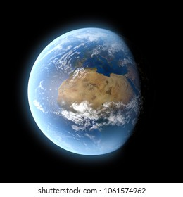 3D Illustration - Planet earth isolated on black background with nasa images